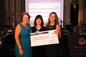 Cheque presentation Grace Ball 2015 to Cally Palmer CBE, CEO of Royal Marsden Hospital (right) and Dr Claire Dearden (left) with Mandie Adams McGuire.