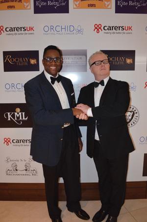 Harold Davies, Key Sponsor Signaturefunding, with Greg Scot.