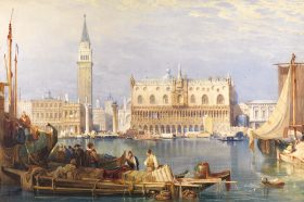 Samuel Prout (1783-1852), Ducal Palace, Venice, Circa 1828, Watercolour with scratching out,  69.8 x 101.2 cm, Courtesy of John Spink, Copyright John Spink.